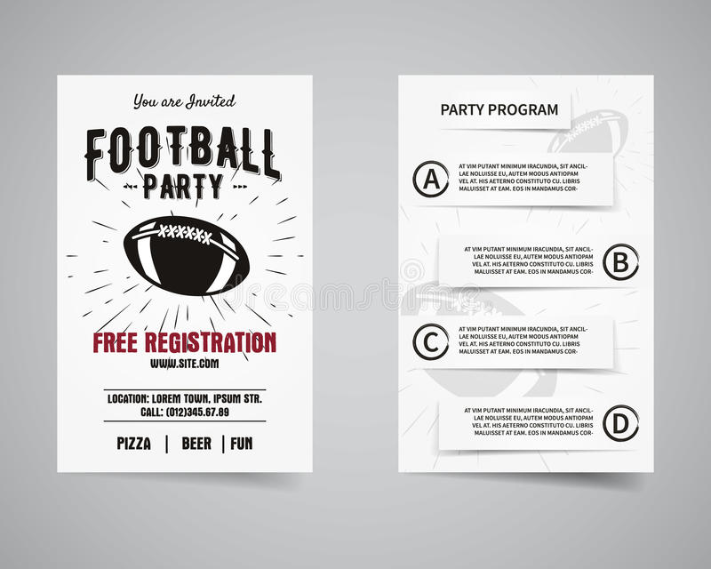 American Football Party Back And Front Flyer Stock Vector