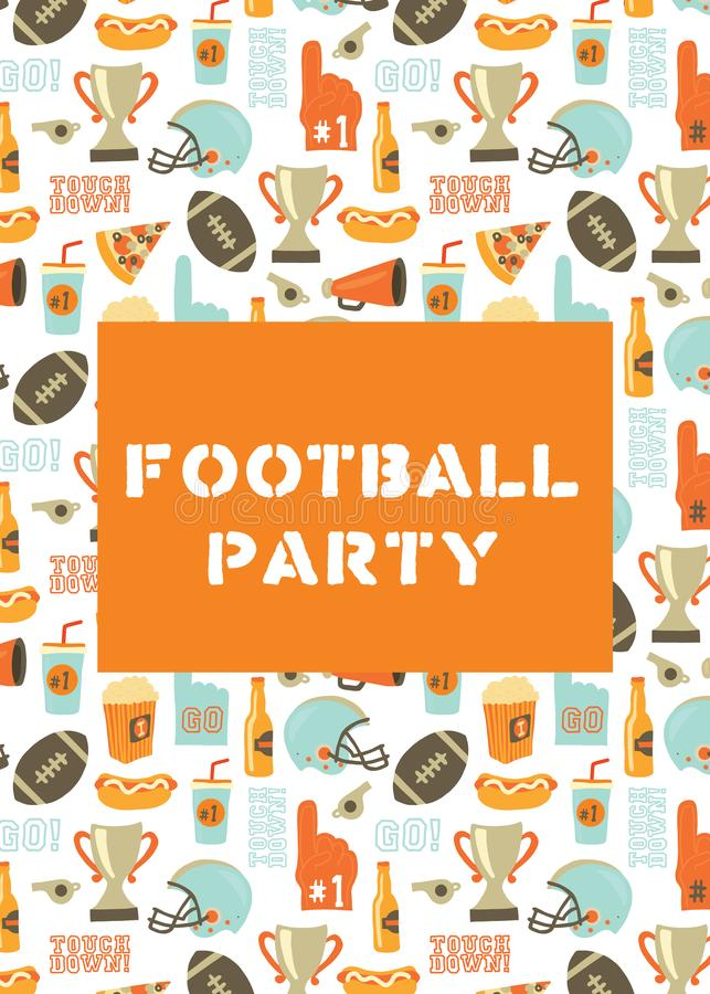 American Football party invitation card. Helmet, trophy, beer, foam finger, fast food, go and touch down lettering background. Vintage style vector design for stock illustration