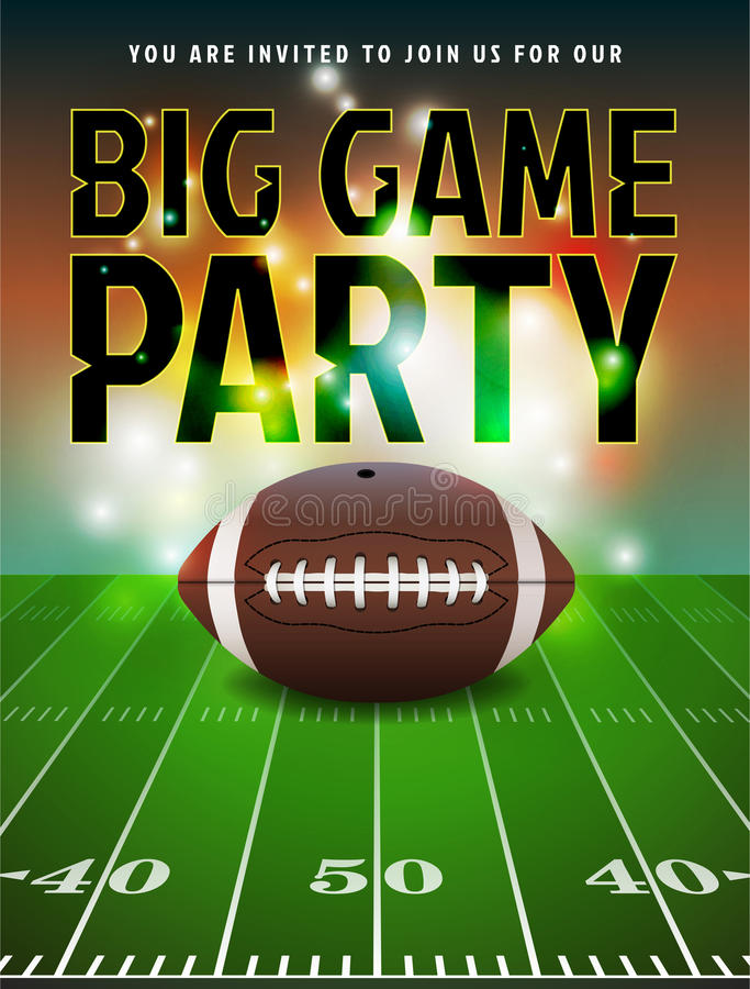 American Football Party Invitation royalty free illustration