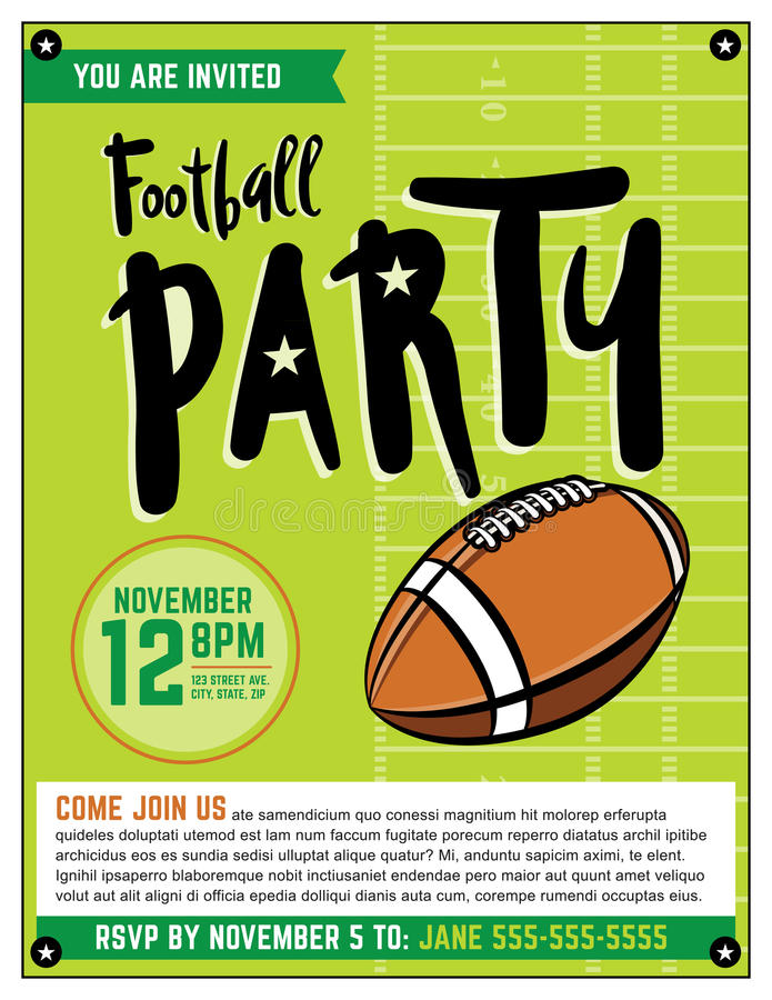 American Football Party Template Illustration Stock Vector