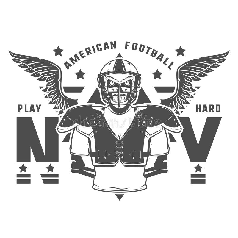 American football play hard prints for shirt,emblems ,logo,tattoo and labels. royalty free illustration