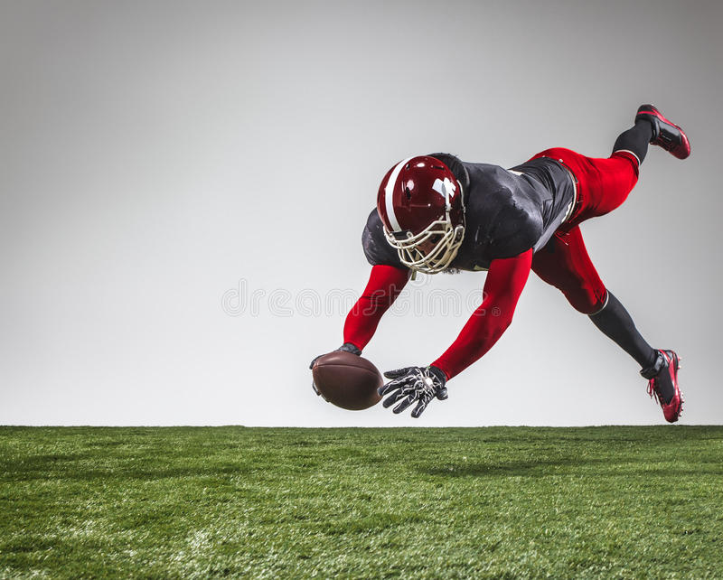 The american football player in action stock photography