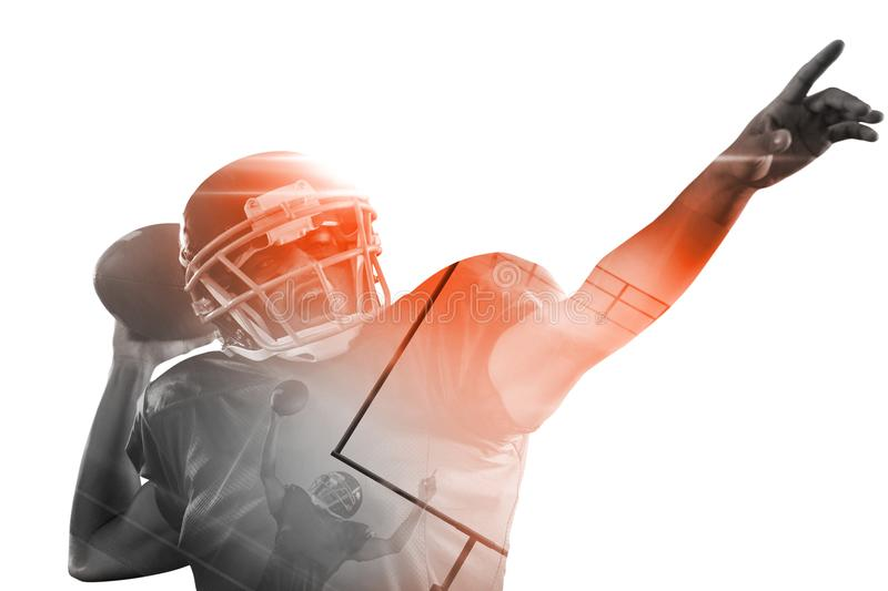 American football player with ball pointing stock photos