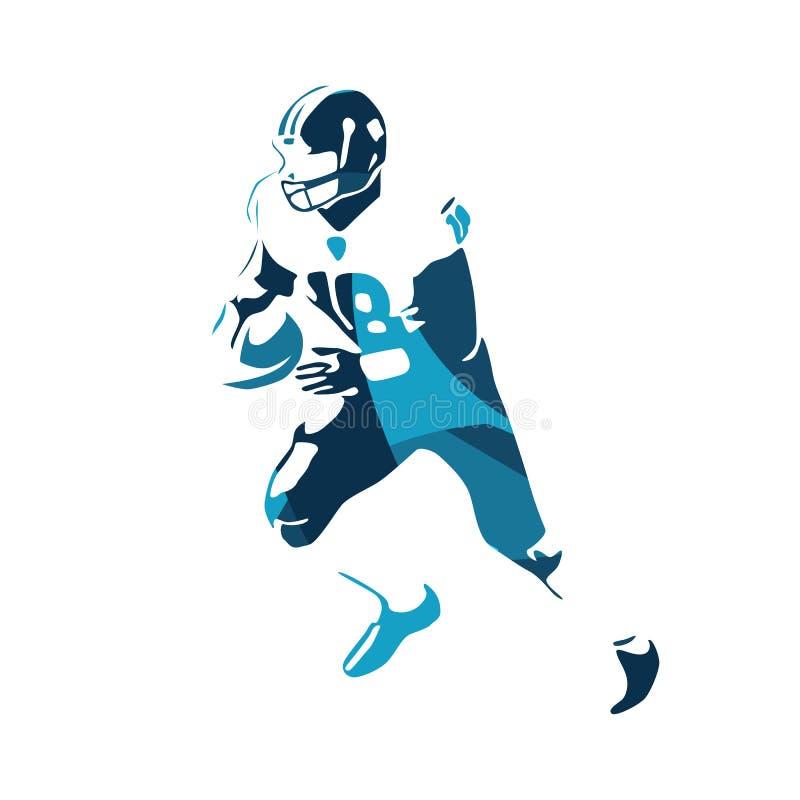 American football player, blue illustration. American football player, abstract blue vector illustration vector illustration