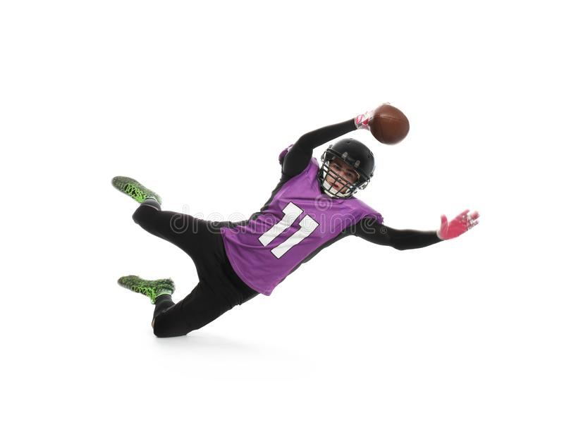 American football player catching ball stock photography
