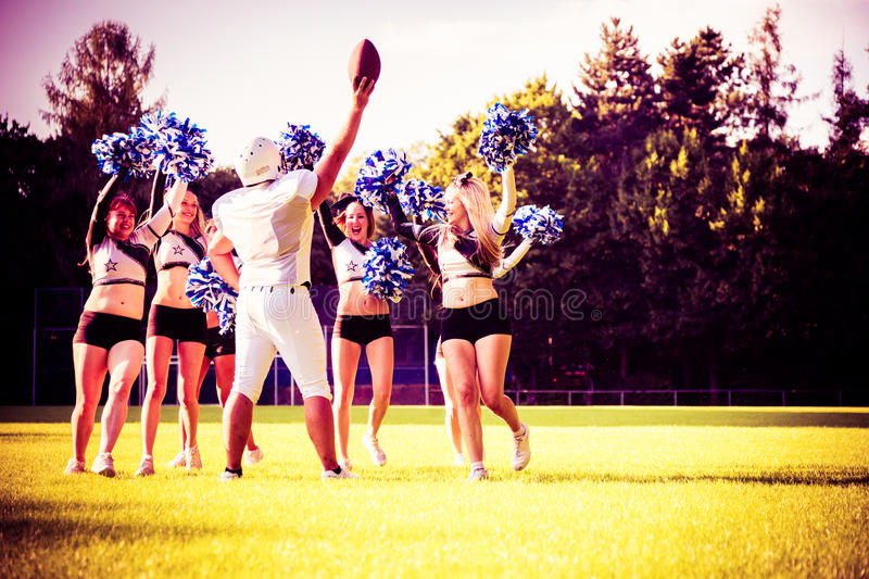 Download American Football Player With Cheerleaders Stock Image - Image: 83722941