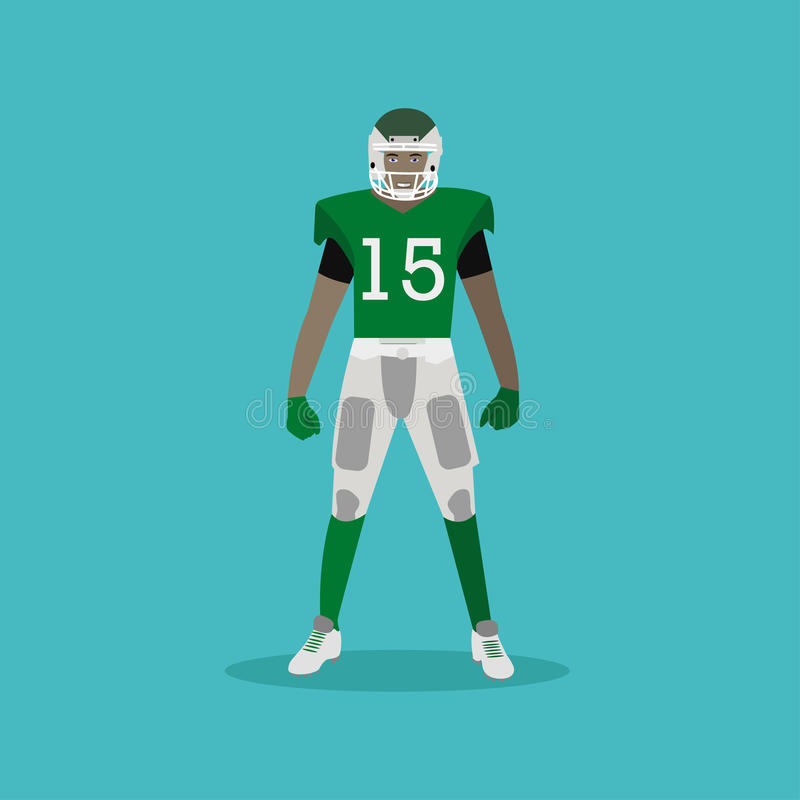 American football player with equipment. stock illustration