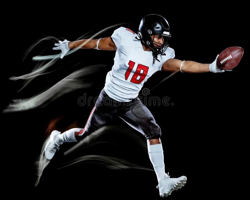 American football player man isolated black background light painting stock image