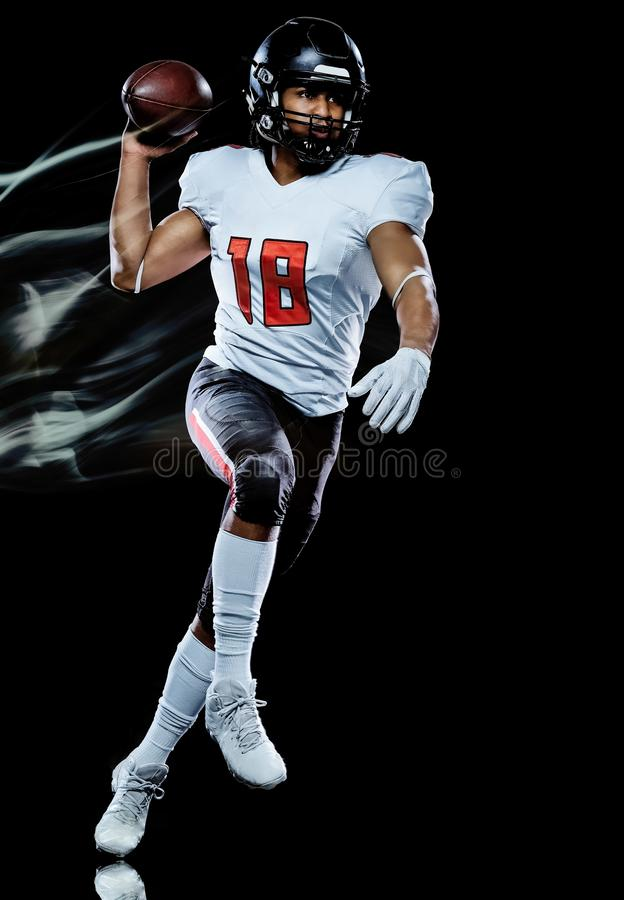 American football player man isolated black background light painting royalty free stock photos