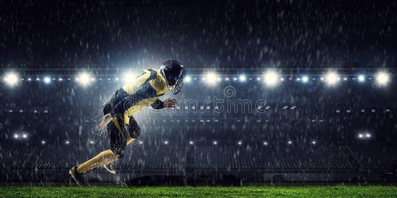 American football player . Mixed media royalty free stock photography