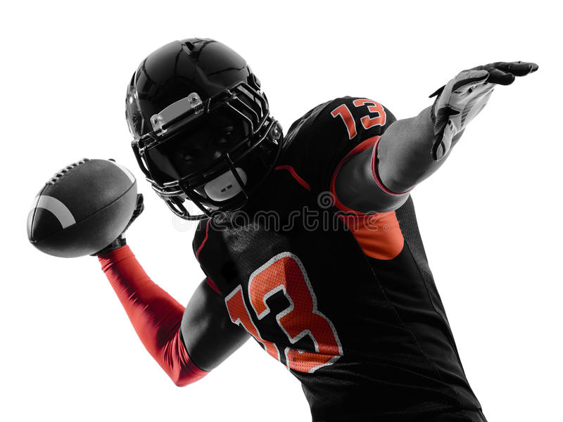American football player quarterback passing portrait silhouette royalty free stock image