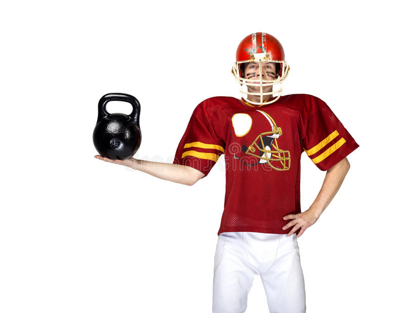 American football player in red uniform posing stock photography