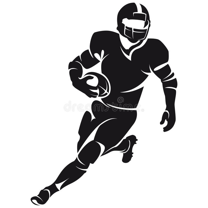 American football player, silhouette royalty free illustration