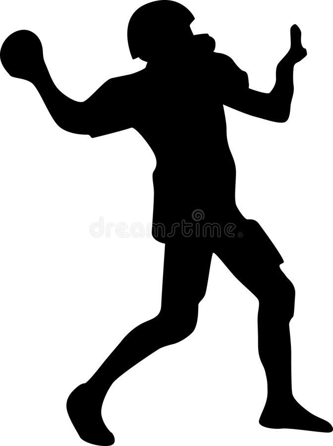 American Football Player Silhouette Vector Stock Photo