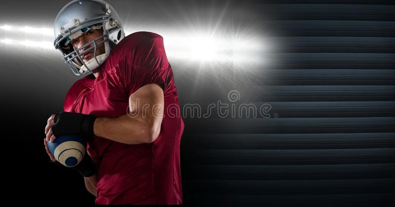 American football player with stadium lights transition royalty free stock photos
