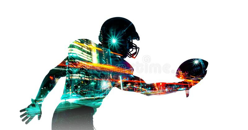 American football sportsman player in helmet. Sport wallpaper. Mixed photo. stock images