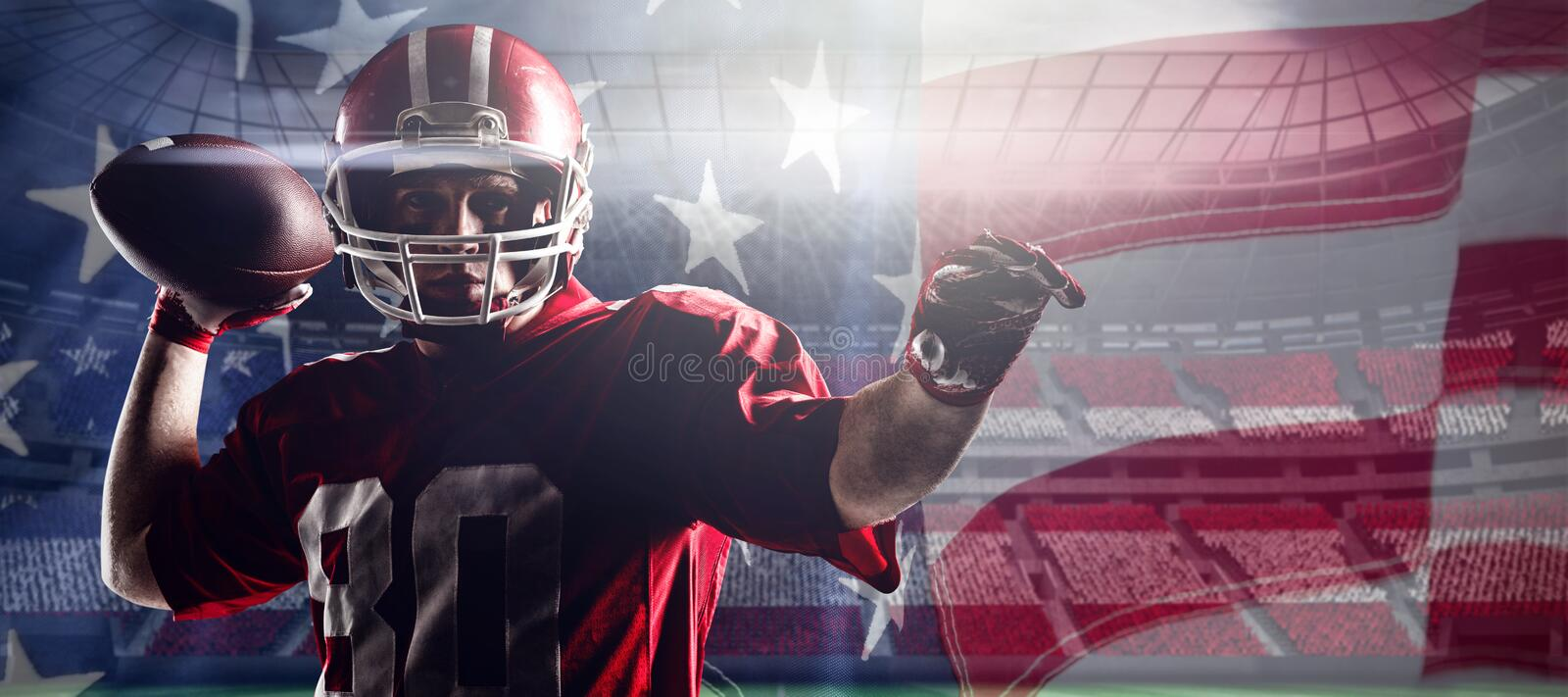 Composite image of american football player standing with helmet preparing to throw ball royalty free stock photo
