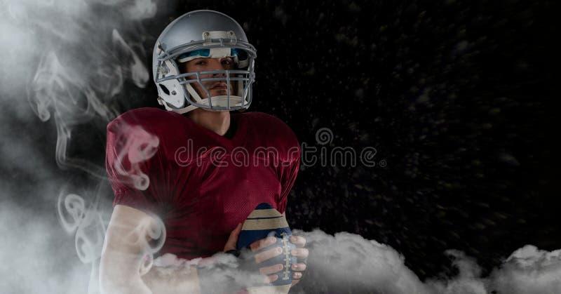 american football player standing in stadium starting game stock illustration