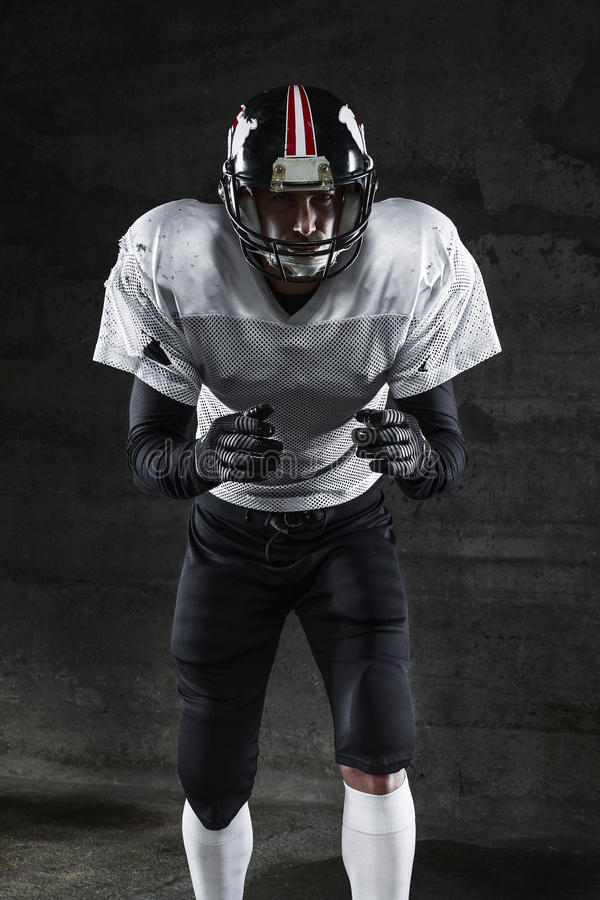 American football player waiting for you stock image