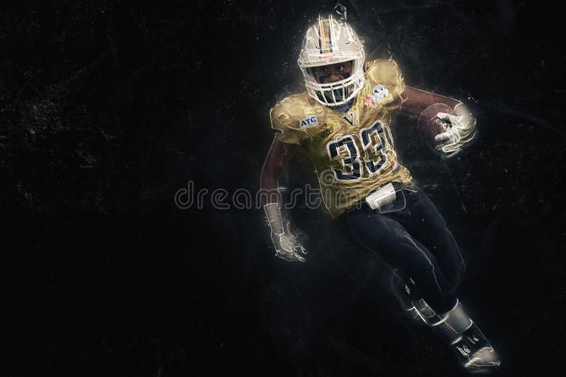 American football player women touchdown stock photo