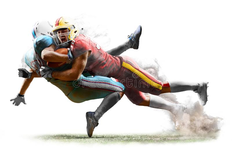 American football players in action white isolated stock photography