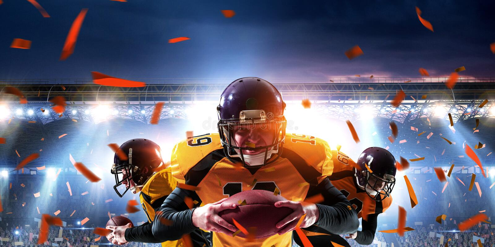 American football players fight for ball. Mixed media royalty free stock photos