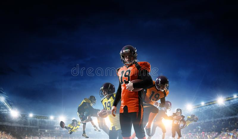 American football players fight for ball. Mixed media stock images