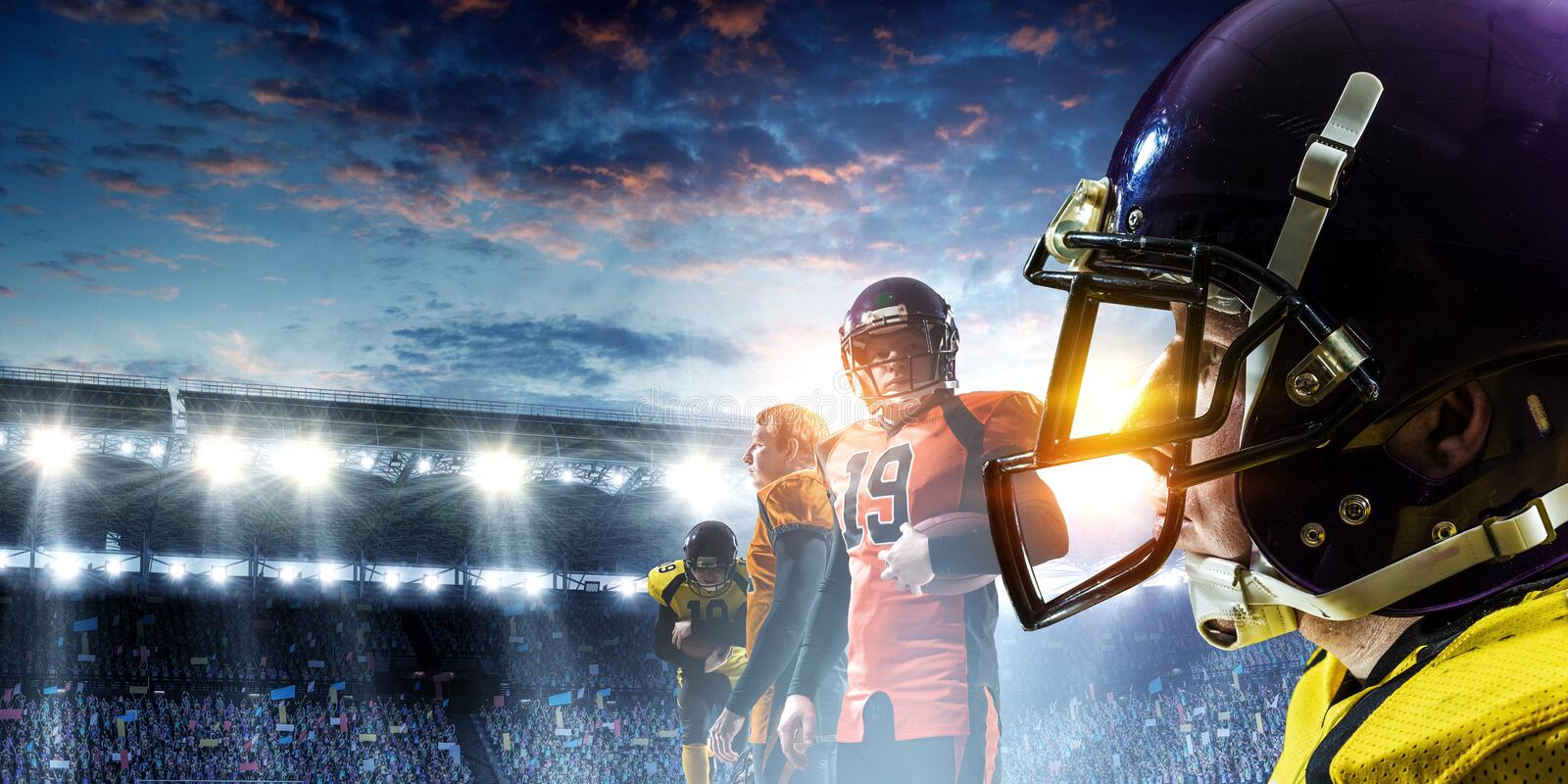 American football players fight for ball. Mixed media royalty free stock photo