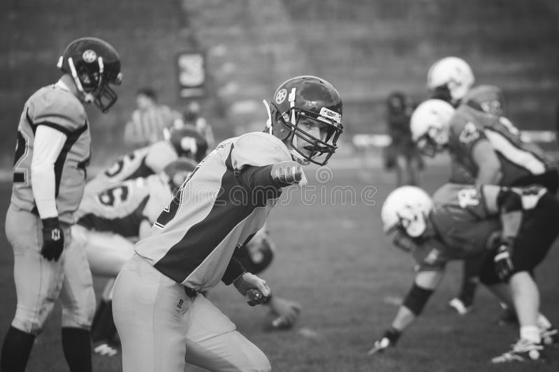 American football rival. American football game rivals on stadium royalty free stock images