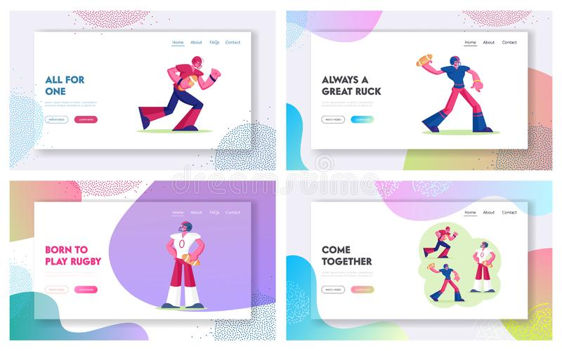 American Football or Rugby College Tournament Website Landing Page. Professional Sportsmen Attacking Opponents royalty free illustration