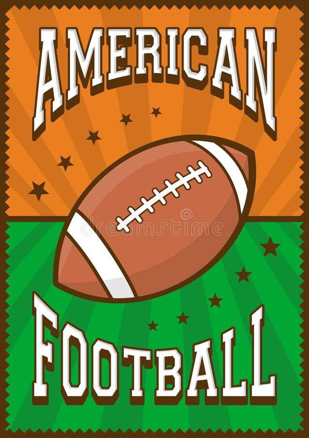 American Football Rugby Sport Retro Pop Art Poster Signage. E vector vector illustration