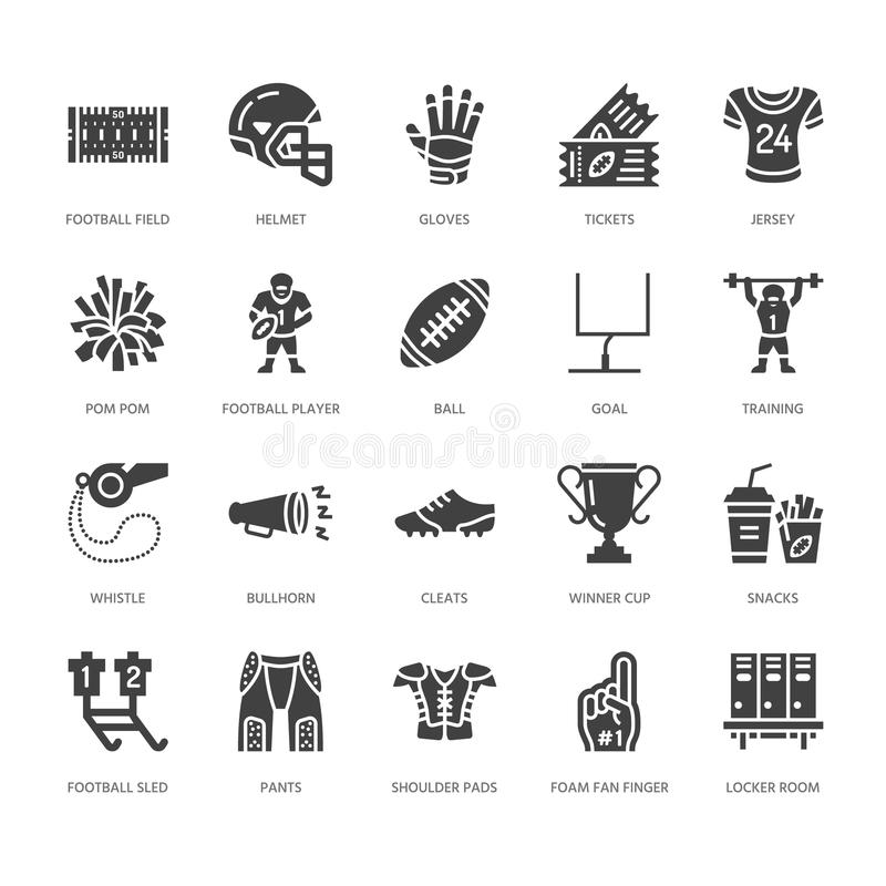 American football, rugby vector flat glyph icons. Sport game elements - ball, field, player, helmet, fan finger, snacks royalty free illustration