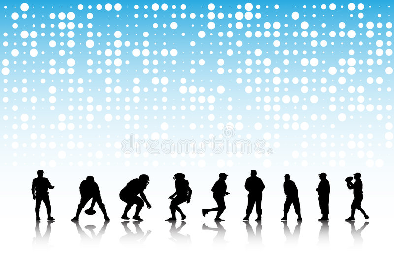 American football silhouettes royalty free stock image