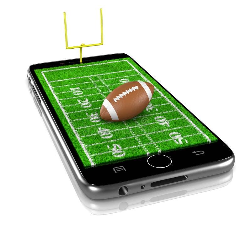 American Football on Smartphone, Sports App stock illustration