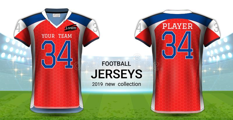 American Football or Soccer Jerseys Uniforms, Realistic Graphic Design Front and Back View for Presentation Mockup Template. Easy Possibility to Apply Your stock illustration