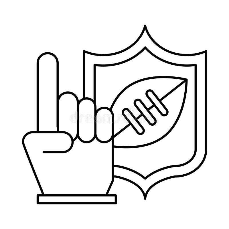 American football sport balloon in shield and first glove vector illustration