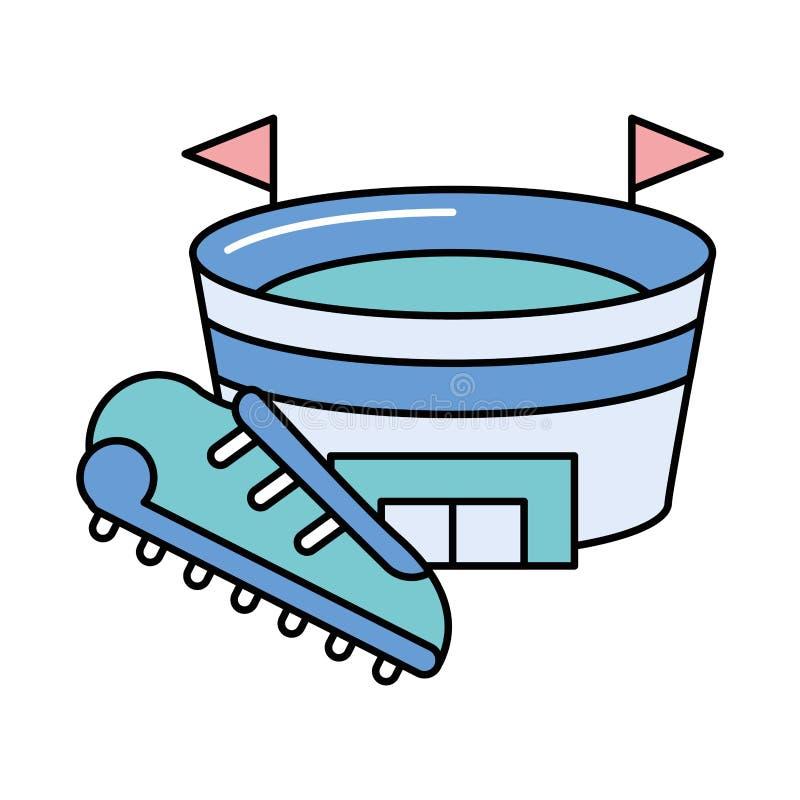 American football sport shoe and stadium royalty free illustration