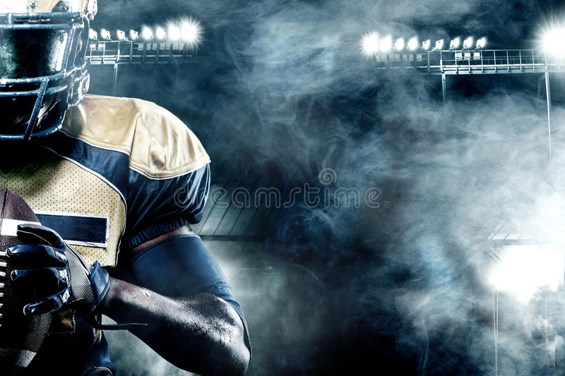 American Football Wallpapers Maker Pro: American Football Sportsman Player On Stadium With Lights On Background With Copy Space Stock