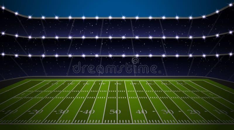 American football stadium. With green field. Vector illustration royalty free illustration
