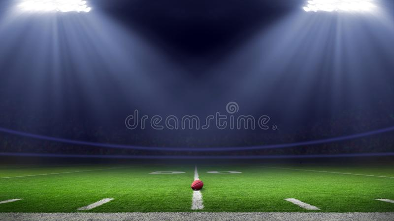 American football stadium low angle field view royalty free stock images