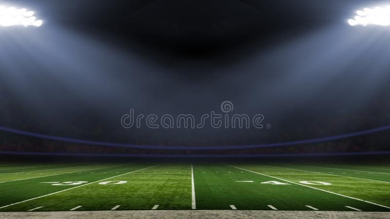 American football stadium low angle field view stock images