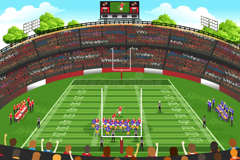 American Football Stadium Scene vector illustration