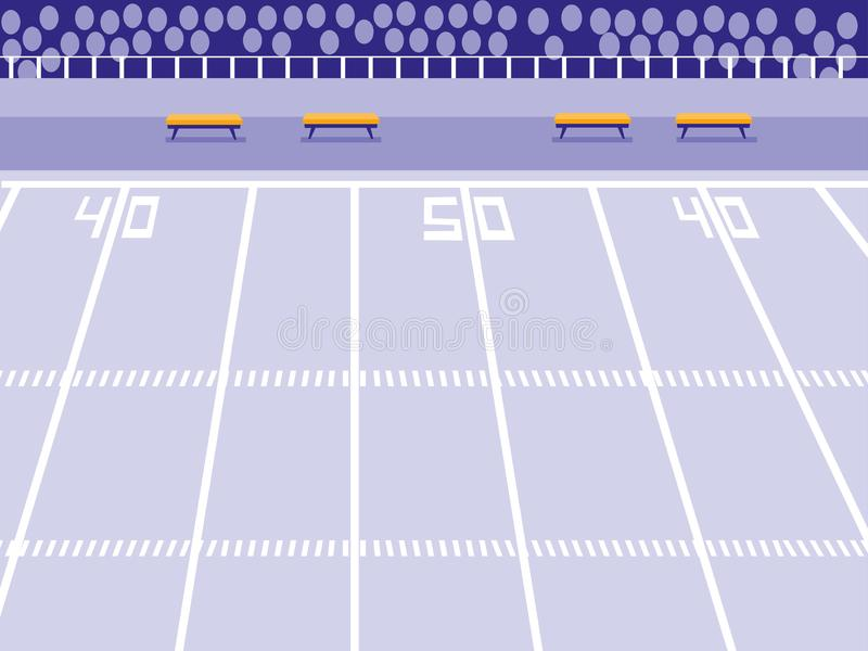 American football stadium scene vector illustration