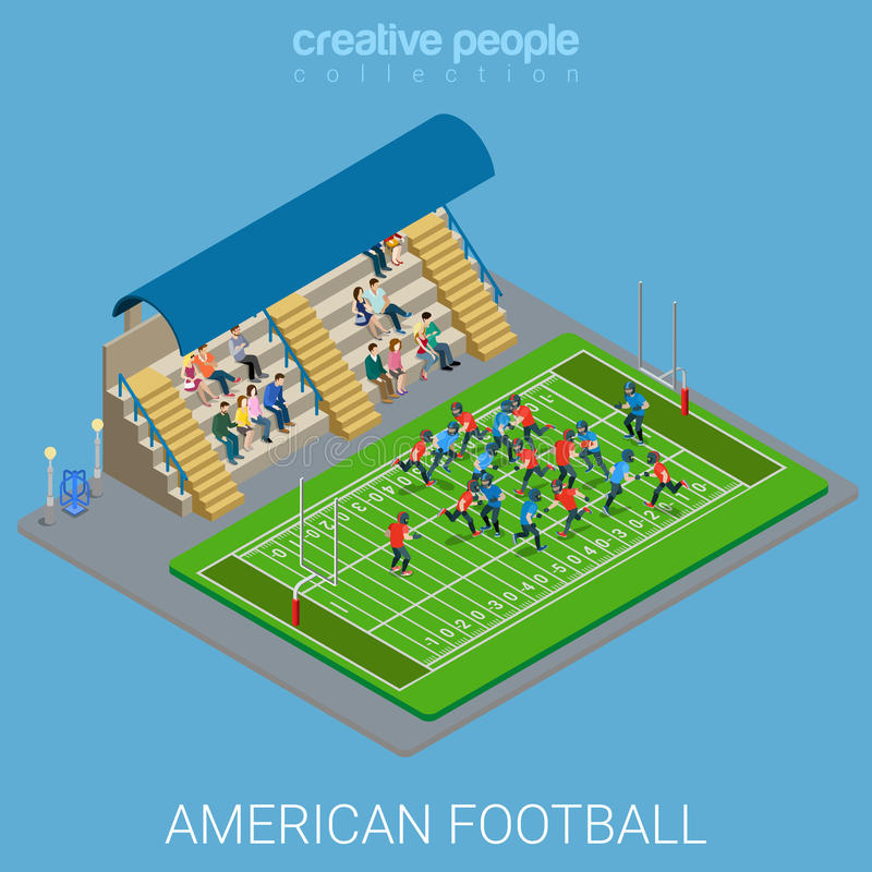 American football stadium sports match flat 3d isometric vector royalty free illustration