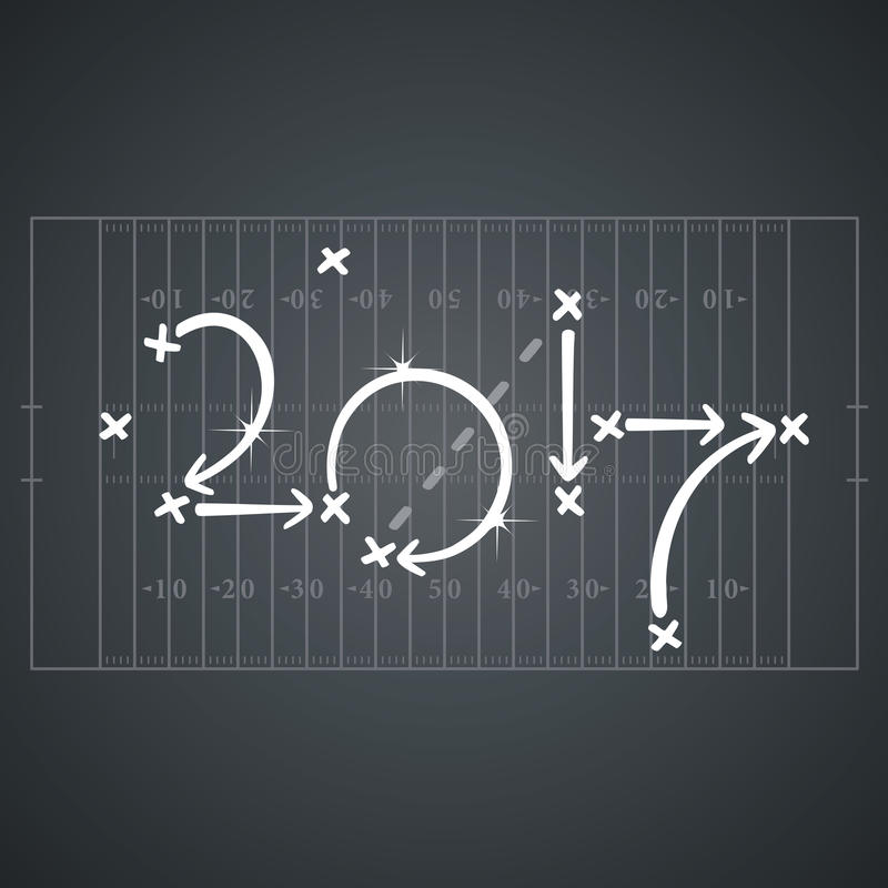 American Football strategies for goal 2017 black board background royalty free illustration