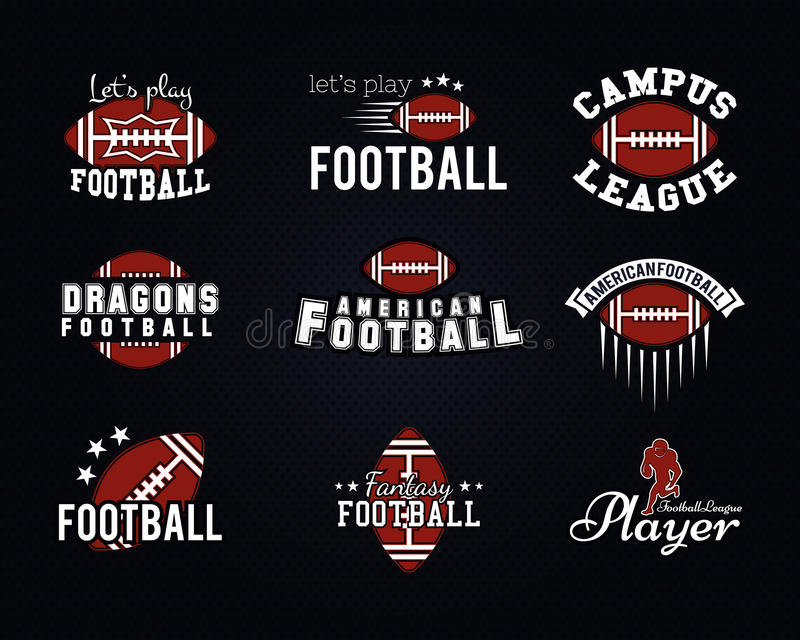 American football team, college badges, logos. Labels, insignias, icons in retro style. Graphic vintage design for t-shirt, web. Color emblems on a dark dotted stock illustration