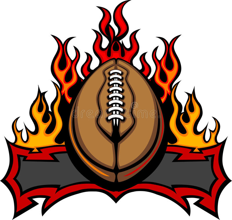 American Football Template With Flames Royalty Free Stock Images