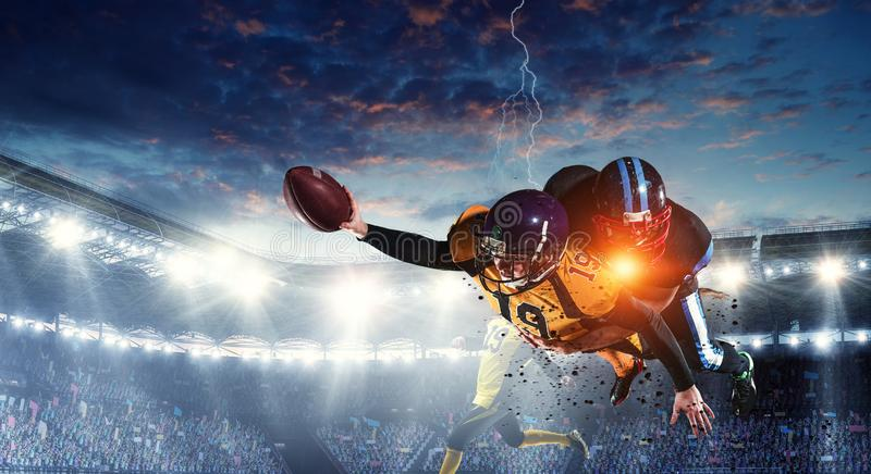 American football theme - hottest match moments. Mixed media royalty free stock image