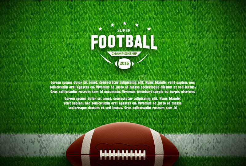 American football top view on green field royalty free illustration
