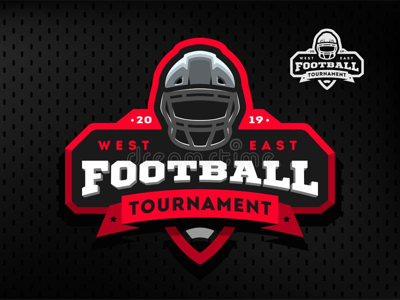 American Football tournament emblem, logo on a dark background. stock illustration